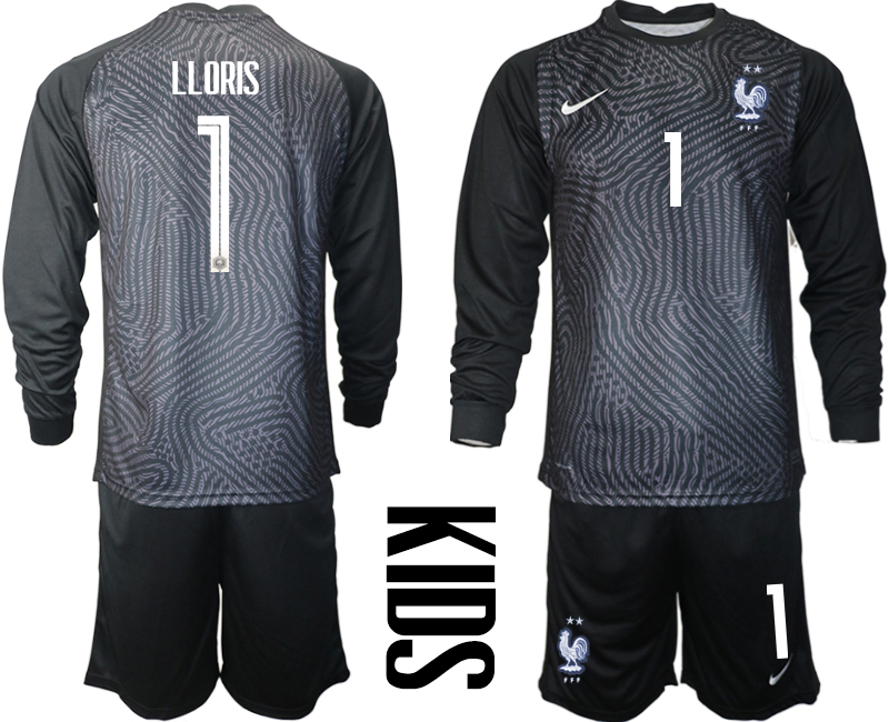 Cheap Youth 2021 European Cup France black Long sleeve goalkeeper 1 Soccer Jersey