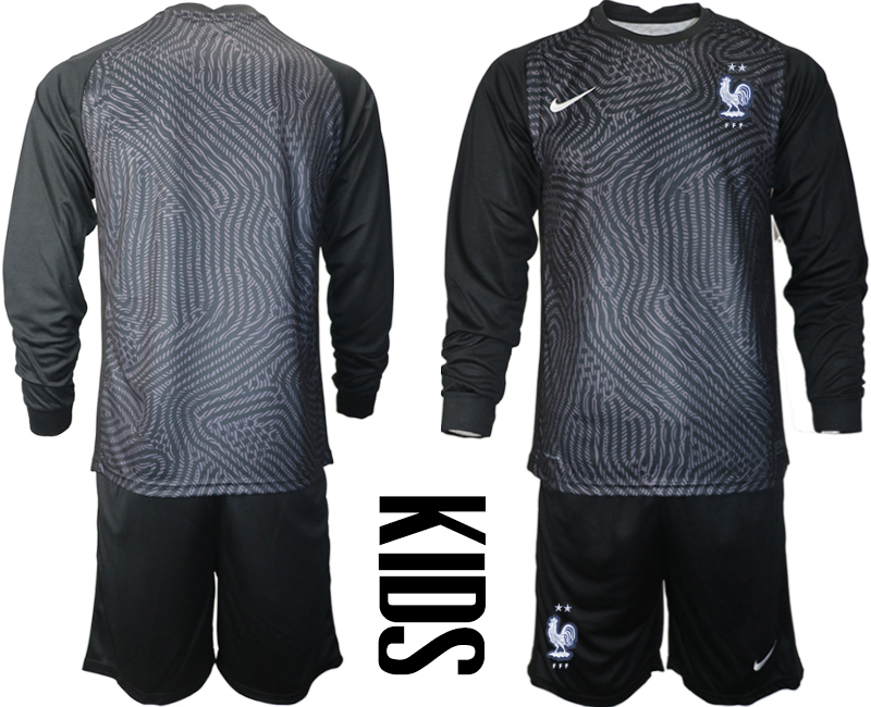Cheap Youth 2021 European Cup France black Long sleeve goalkeeper Soccer Jersey