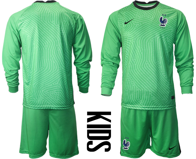 Wholesale Youth 2021 European Cup France green Long sleeve goalkeeper Soccer Jersey