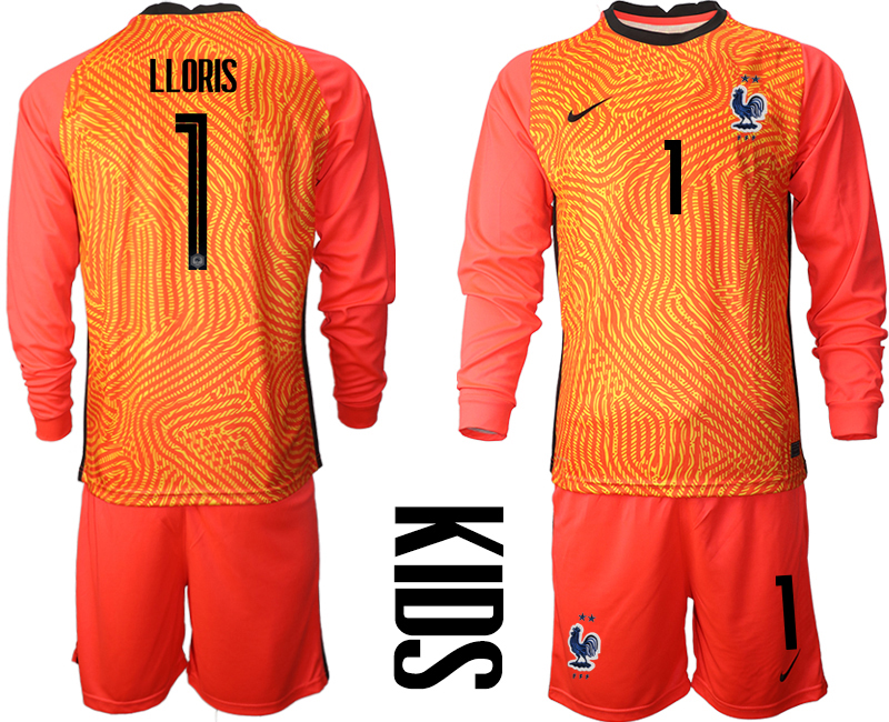 Cheap Youth 2021 European Cup France red Long sleeve goalkeeper 1 Soccer Jersey
