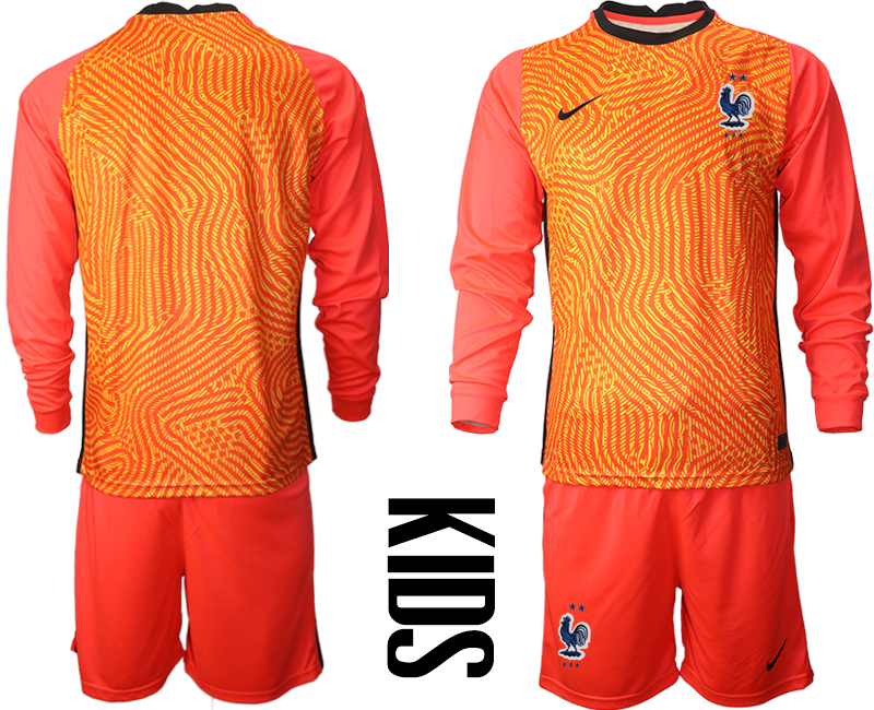 Wholesale Youth 2021 European Cup France red Long sleeve goalkeeper Soccer Jersey