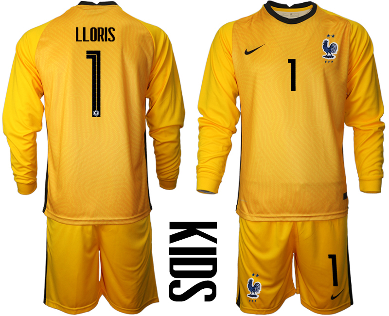 Wholesale Youth 2021 European Cup France yellow Long sleeve goalkeeper 1 Soccer Jersey