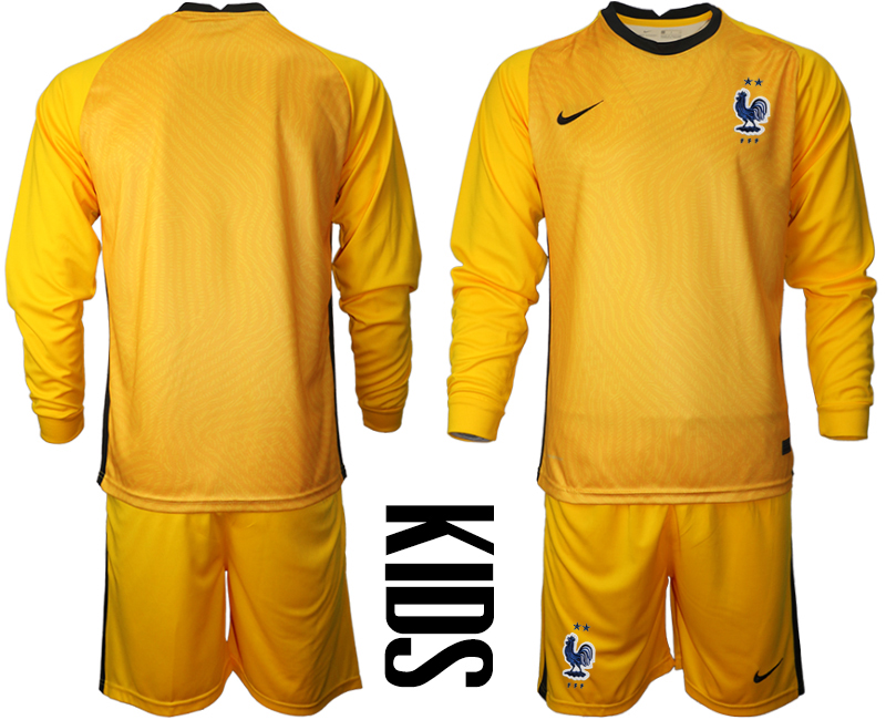 Wholesale Youth 2021 European Cup France yellow Long sleeve goalkeeper Soccer Jersey