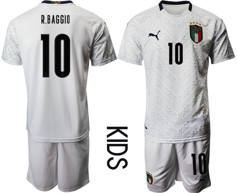 Wholesale Youth 2021 European Cup Italy away white 10 Soccer Jersey