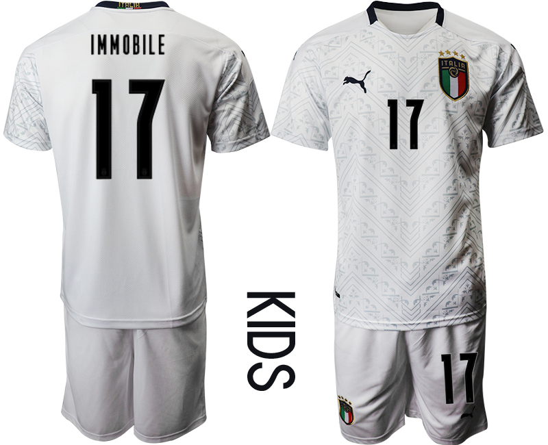 Wholesale Youth 2021 European Cup Italy away white 17 Soccer Jersey