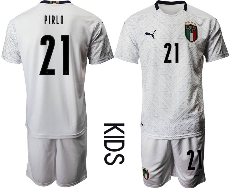 Wholesale Youth 2021 European Cup Italy away white 21 Soccer Jersey