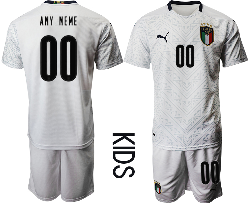 Wholesale Youth 2021 European Cup Italy away white customized Soccer Jersey