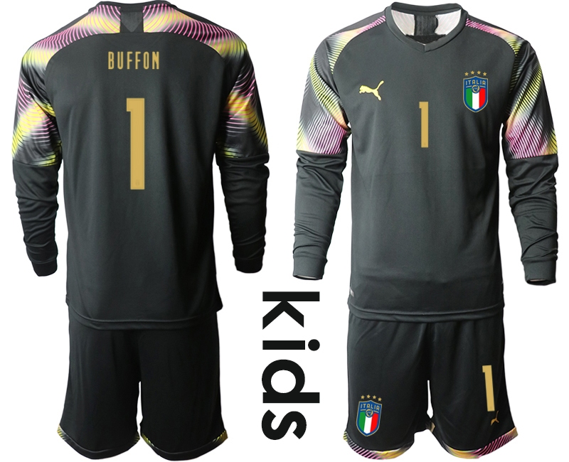 Wholesale Youth 2021 European Cup Italy black Long sleeve goalkeeper 1 Soccer Jersey