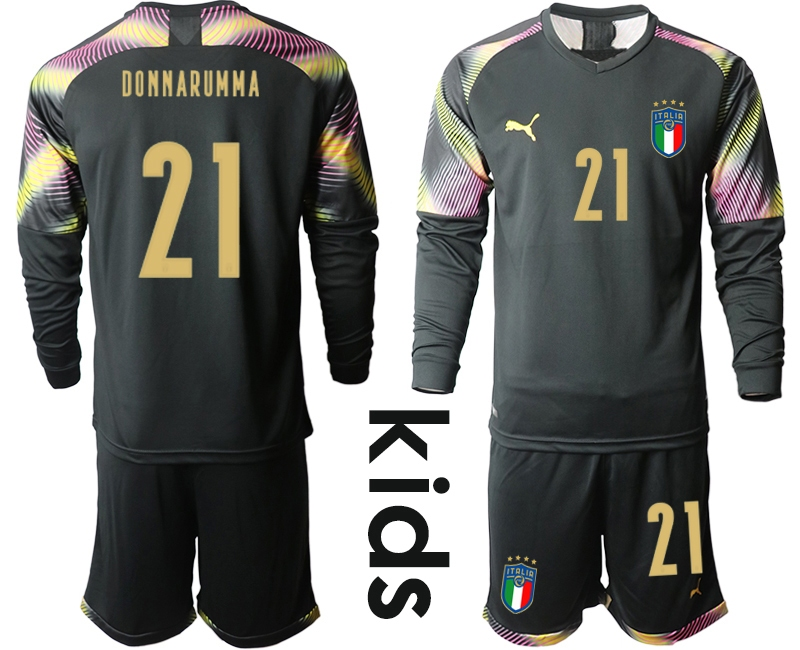 Wholesale Youth 2021 European Cup Italy black Long sleeve goalkeeper 21 Soccer Jersey