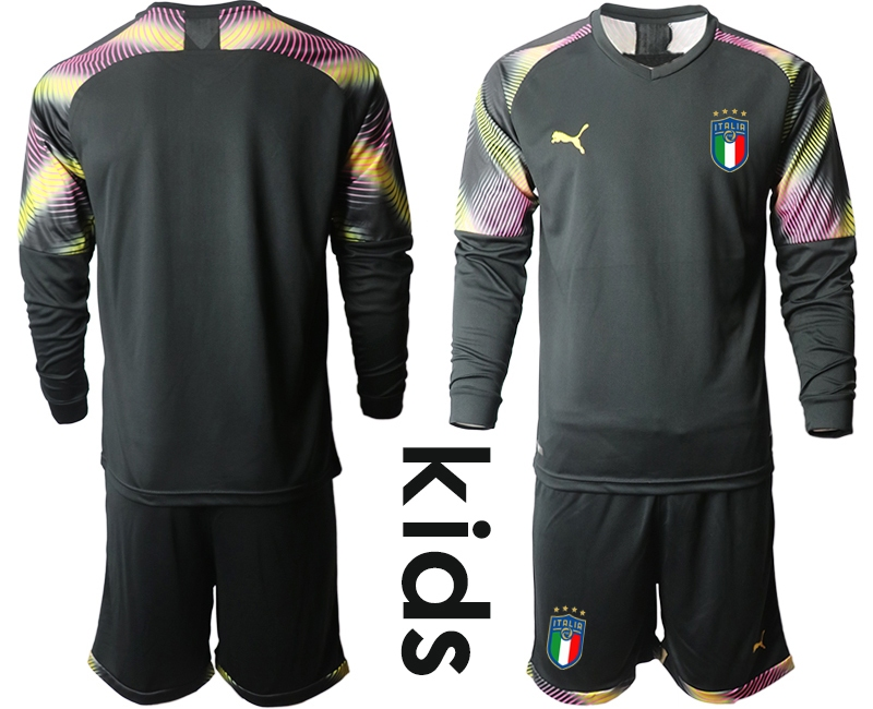Wholesale Youth 2021 European Cup Italy black Long sleeve goalkeeper Soccer Jersey