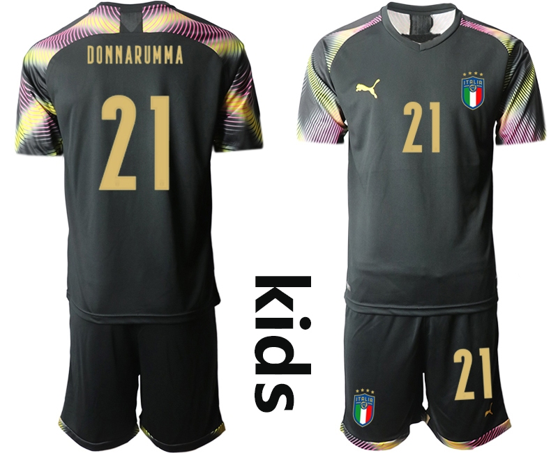 Wholesale Youth 2021 European Cup Italy black goalkeeper 21 Soccer Jersey