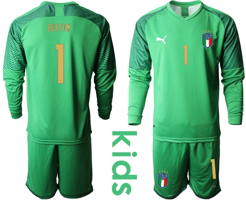 Wholesale Youth 2021 European Cup Italy green Long sleeve goalkeeper 1 Soccer Jersey