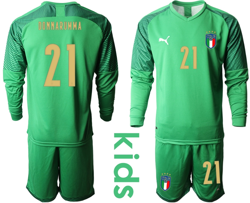 Wholesale Youth 2021 European Cup Italy green Long sleeve goalkeeper 21 Soccer Jersey