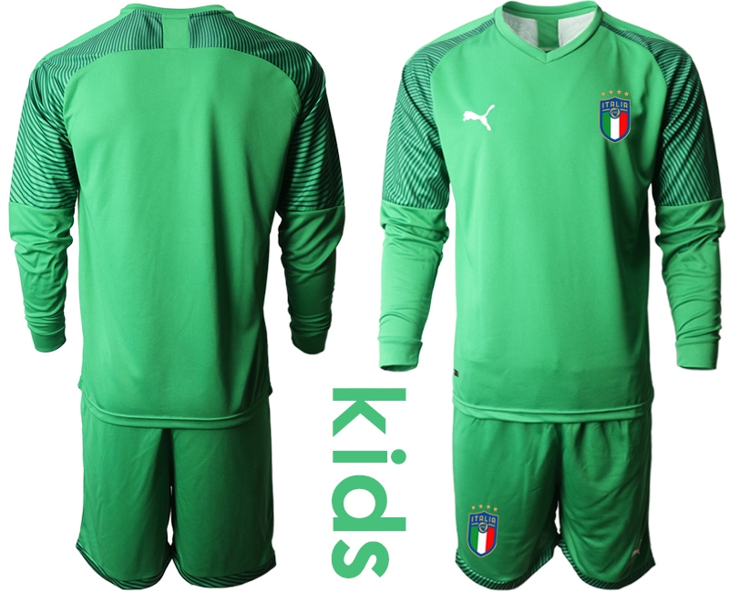 Wholesale Youth 2021 European Cup Italy green Long sleeve goalkeeper Soccer Jersey