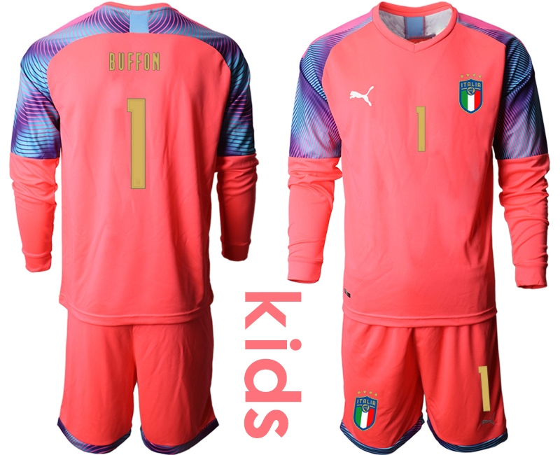 Wholesale Youth 2021 European Cup Italy pink Long sleeve goalkeeper 1 Soccer Jersey