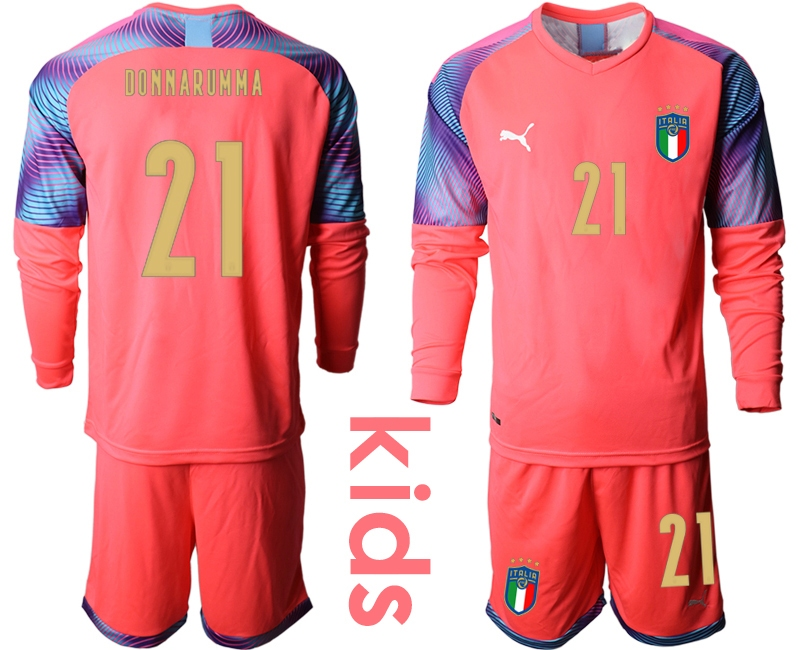 Wholesale Youth 2021 European Cup Italy pink Long sleeve goalkeeper 21 Soccer Jersey
