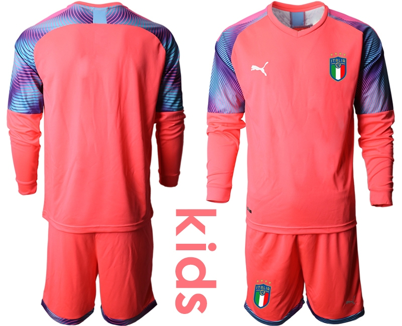 Wholesale Youth 2021 European Cup Italy pink Long sleeve goalkeeper Soccer Jersey