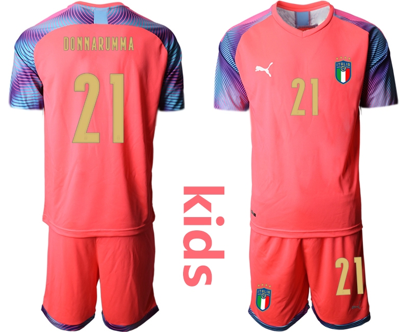 Wholesale Youth 2021 European Cup Italy pink goalkeeper 21 Soccer Jersey