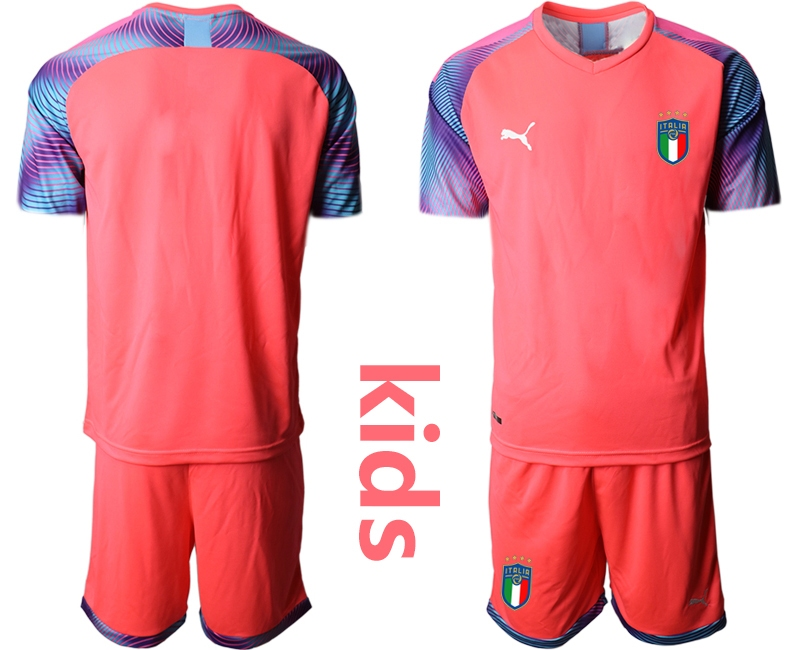 Wholesale Youth 2021 European Cup Italy pink goalkeeper Soccer Jersey