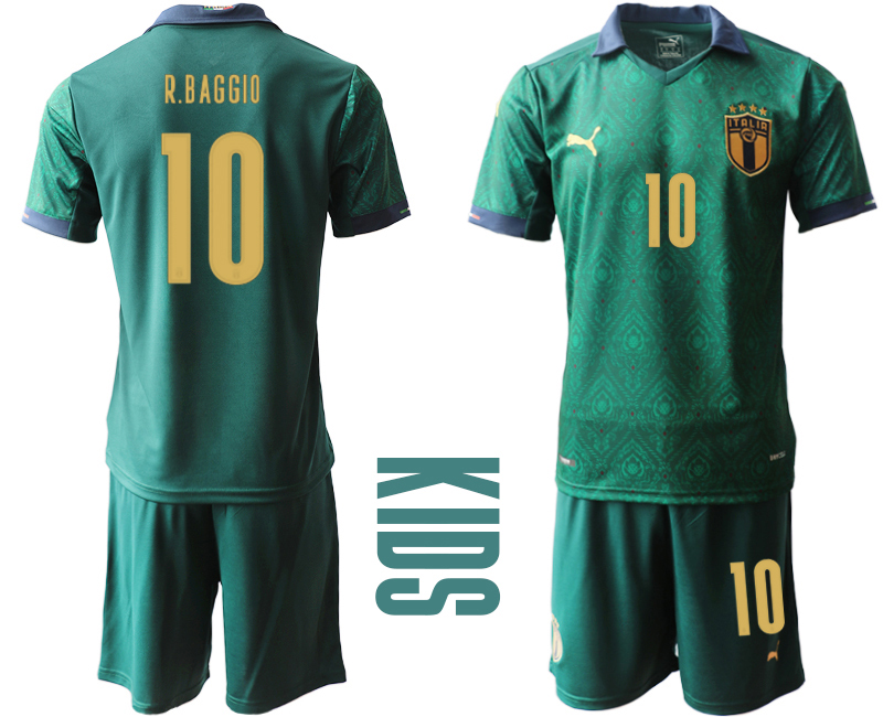 Wholesale Youth 2021 European Cup Italy second away green 10 Soccer Jersey