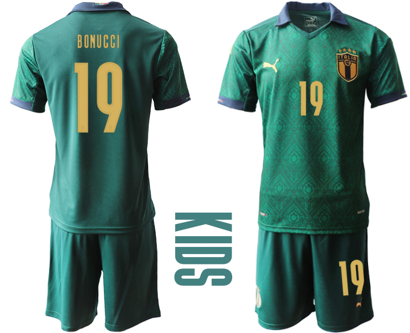 Wholesale Youth 2021 European Cup Italy second away green 19 Soccer Jersey