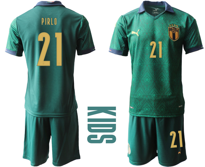 Wholesale Youth 2021 European Cup Italy second away green 21 Soccer Jersey
