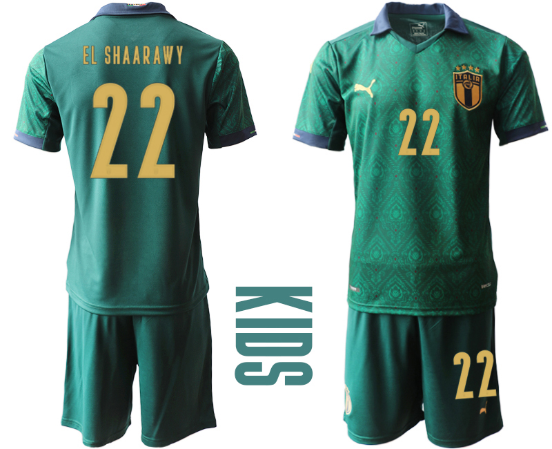 Wholesale Youth 2021 European Cup Italy second away green 22 Soccer Jersey