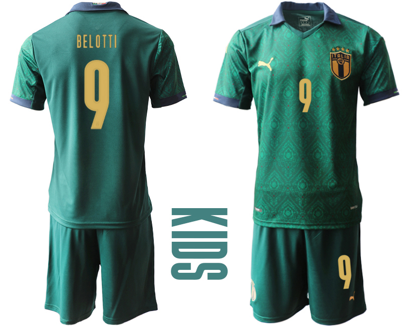 Wholesale Youth 2021 European Cup Italy second away green 9 Soccer Jersey