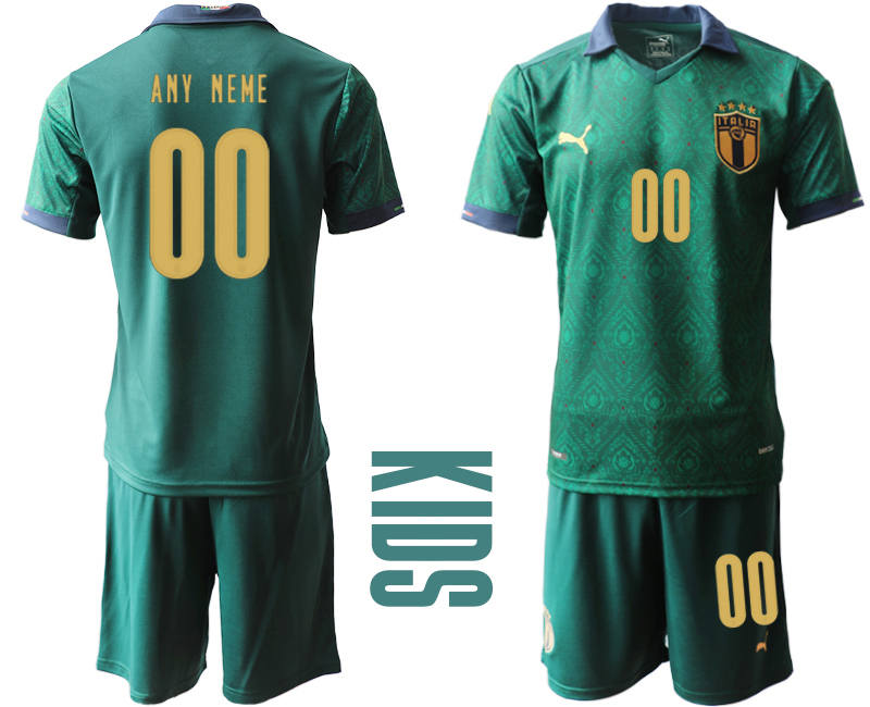 Wholesale Youth 2021 European Cup Italy second away green customized Soccer Jersey