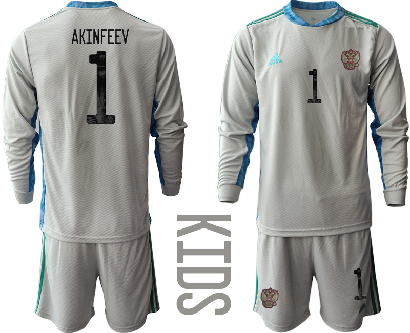 Cheap Youth 2021 European Cup Russia grey Long sleeve goalkeeper 1 Soccer Jersey