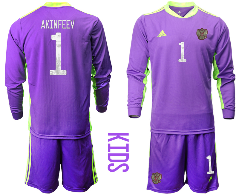 Cheap Youth 2021 European Cup Russia purple Long sleeve goalkeeper 1 Soccer Jersey