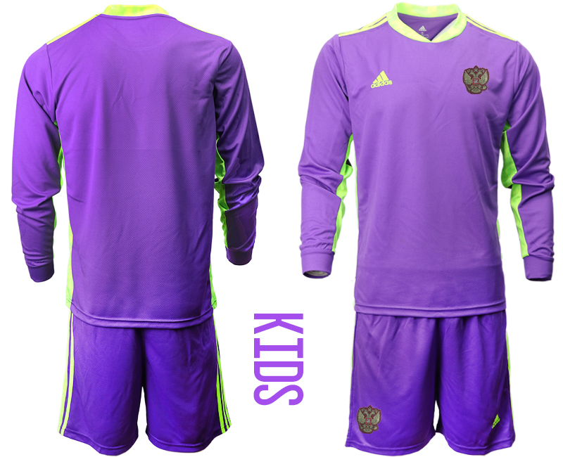 Cheap Youth 2021 European Cup Russia purple Long sleeve goalkeeper Soccer Jersey