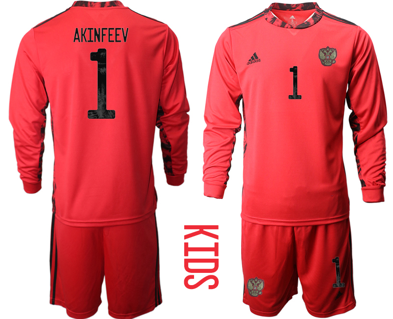 Cheap Youth 2021 European Cup Russia red Long sleeve goalkeeper 1 Soccer Jersey