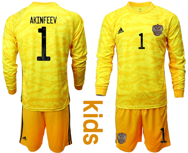Cheap Youth 2021 European Cup Russia yellow Long sleeve goalkeeper 1 Soccer Jersey