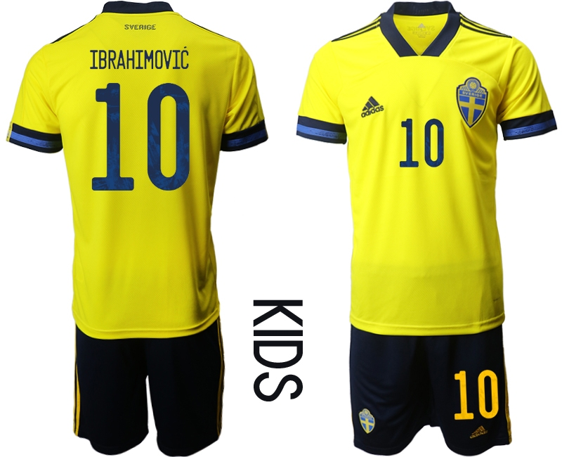 Wholesale Youth 2021 European Cup Sweden home yellow 10 Soccer Jersey1
