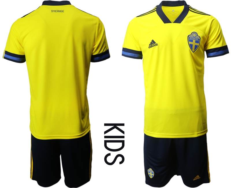 Wholesale Youth 2021 European Cup Sweden home yellow Soccer Jersey