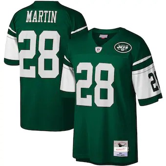 Wholesale Custom Men New York Jets Curtis Martin Mitchell and Ness Green Retired Player Legacy Replica nfl Jersey
