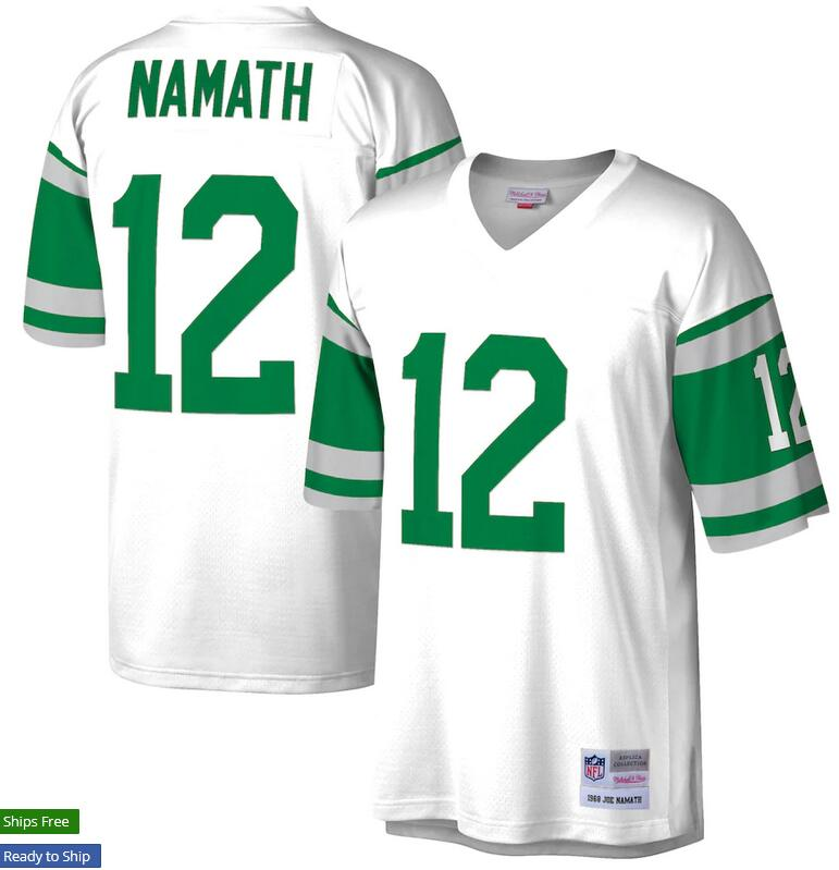 Wholesale Custom Men New York Jets Joe Namath Mitchell Ness White Retired Player Legacy Replica nfl Jersey