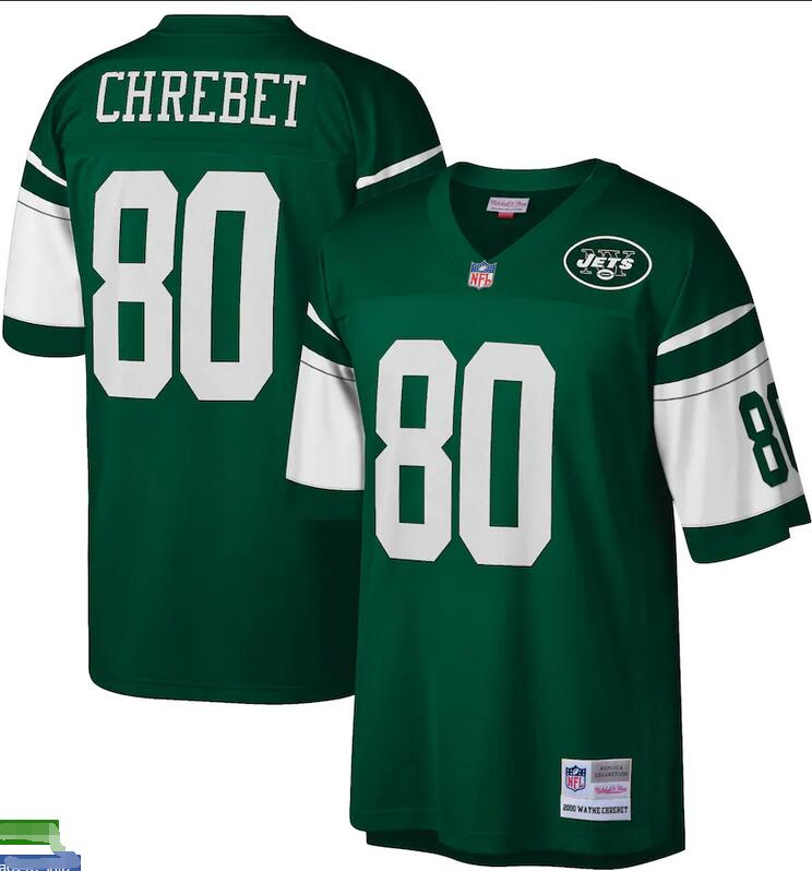 Wholesale Custom Men New York Jets Wayne Chrebet Mitchell Ness Green Retired Player Legacy Replica nfl Jersey