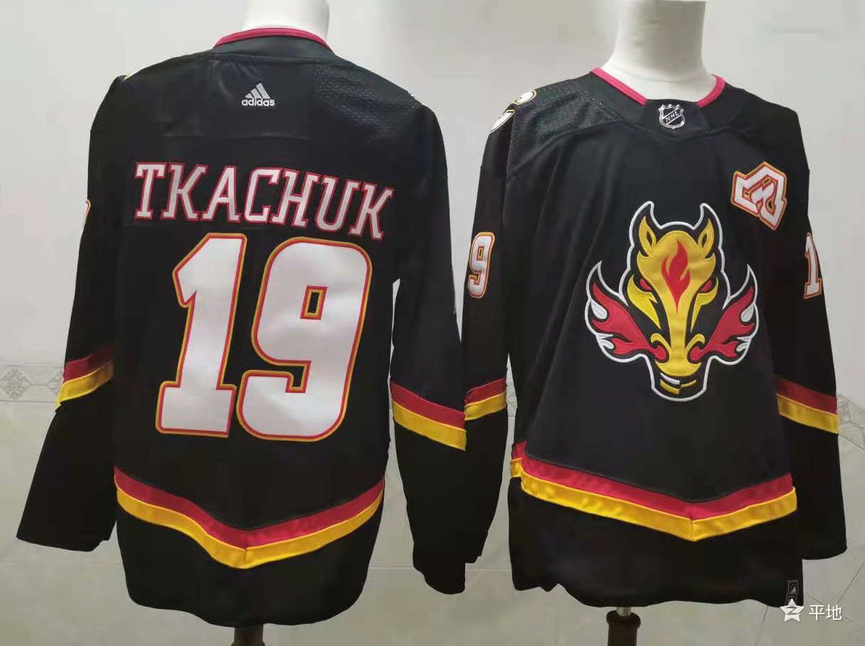 Cheap Men Calgary Flames 19 Tkachuk Black Authentic Stitched 2021 Adidias NHL Jersey