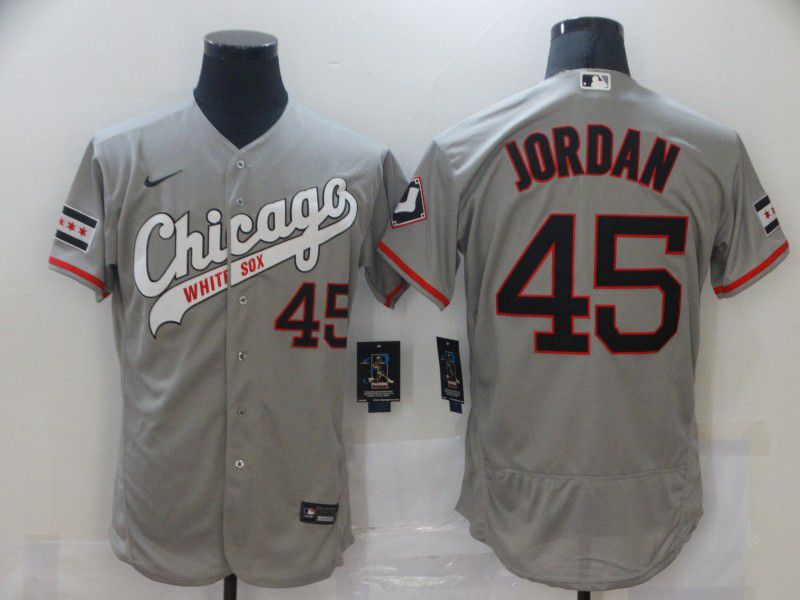 Cheap Men Chicago White Sox 45 Jordan Grey Elite Nike MLB Jerseys
