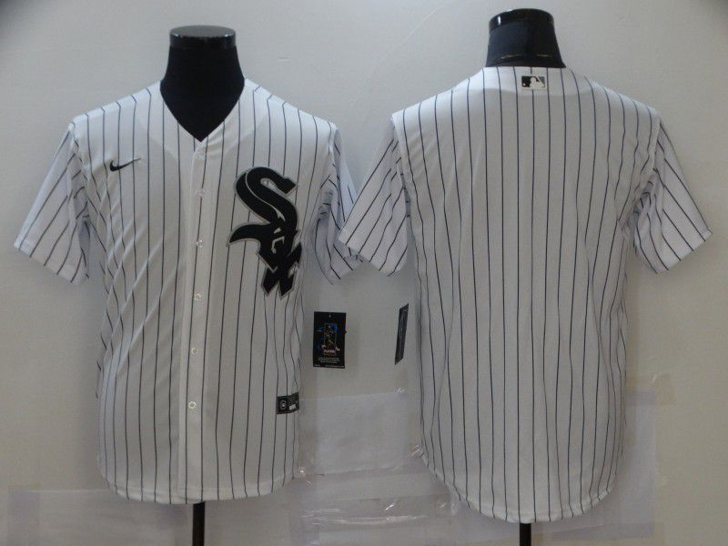 Cheap Men Chicago White Sox Blank White Strip Game Nike MLB Jerseys