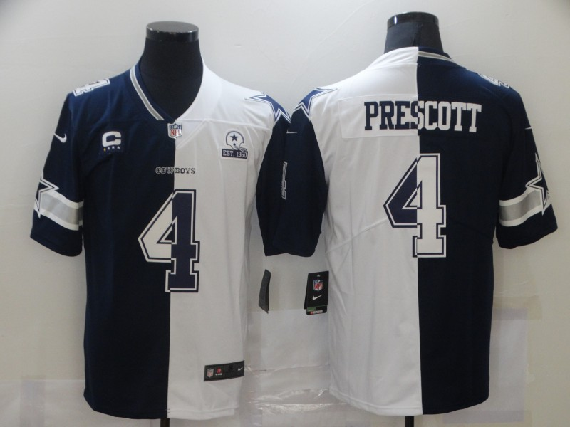 Wholesale Men Dallas Cowboys 4 Prescott blue white Nike Vapor Untouchable Limited NFL Jerseys