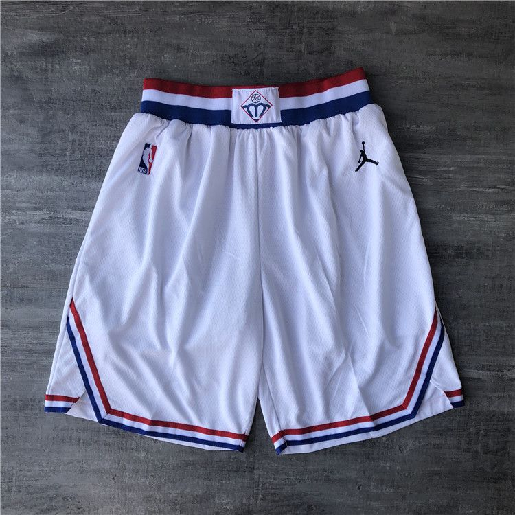 Cheap Men NBA 2019 all star White Shorts 0416