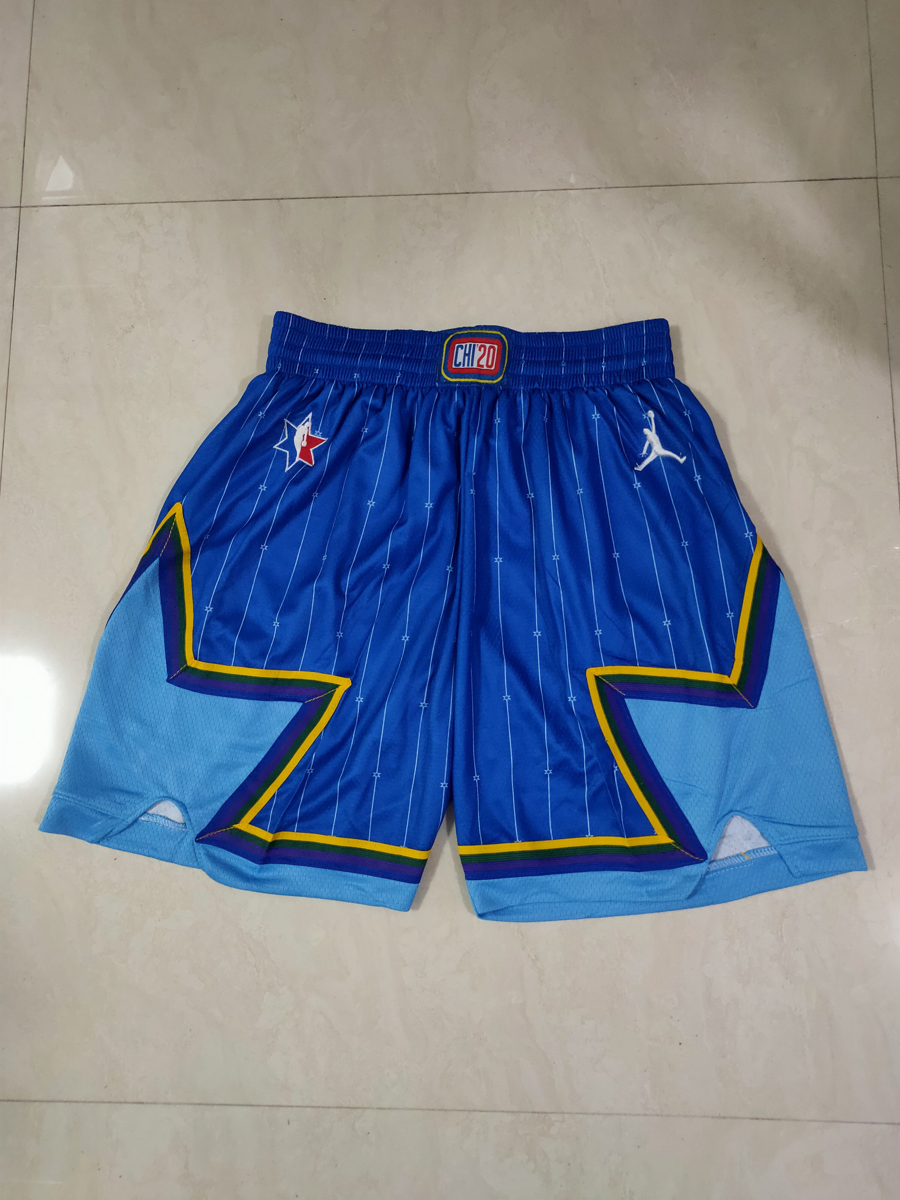 Cheap Men NBA 2020 all star Blue Shorts 0416