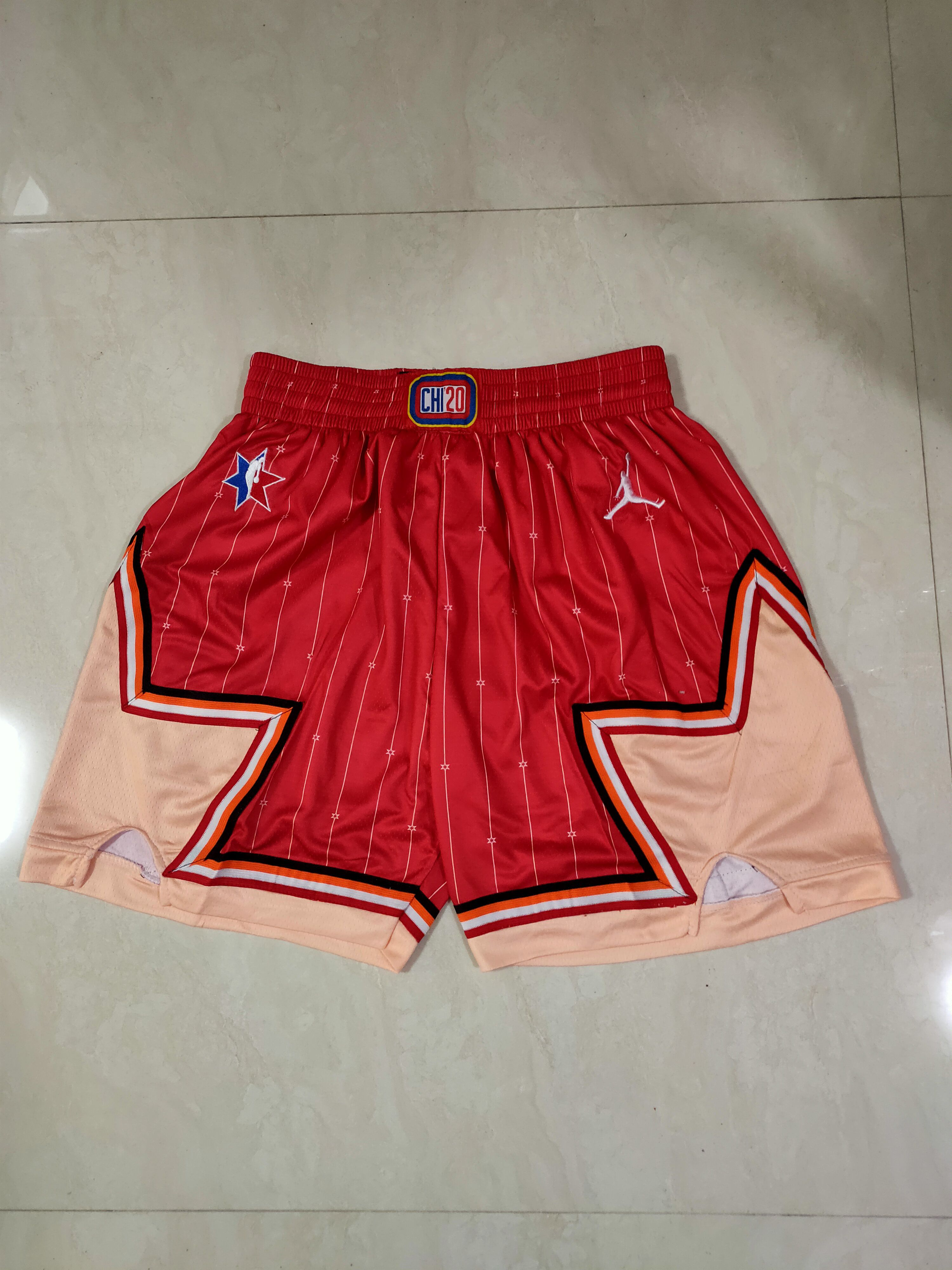 Cheap Men NBA 2020 all star Red Shorts 0416