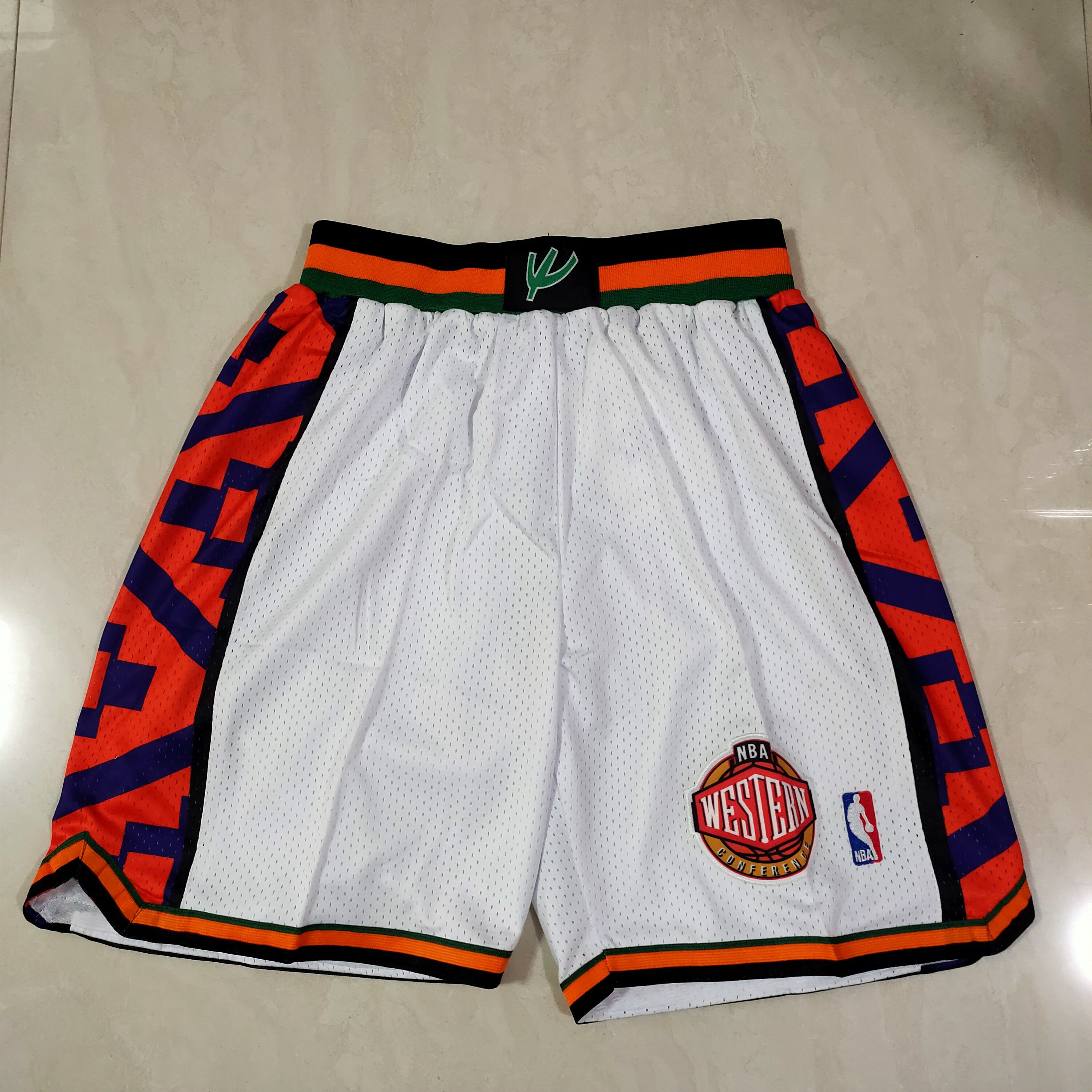Cheap Men NBA 95 all star White Shorts 0416