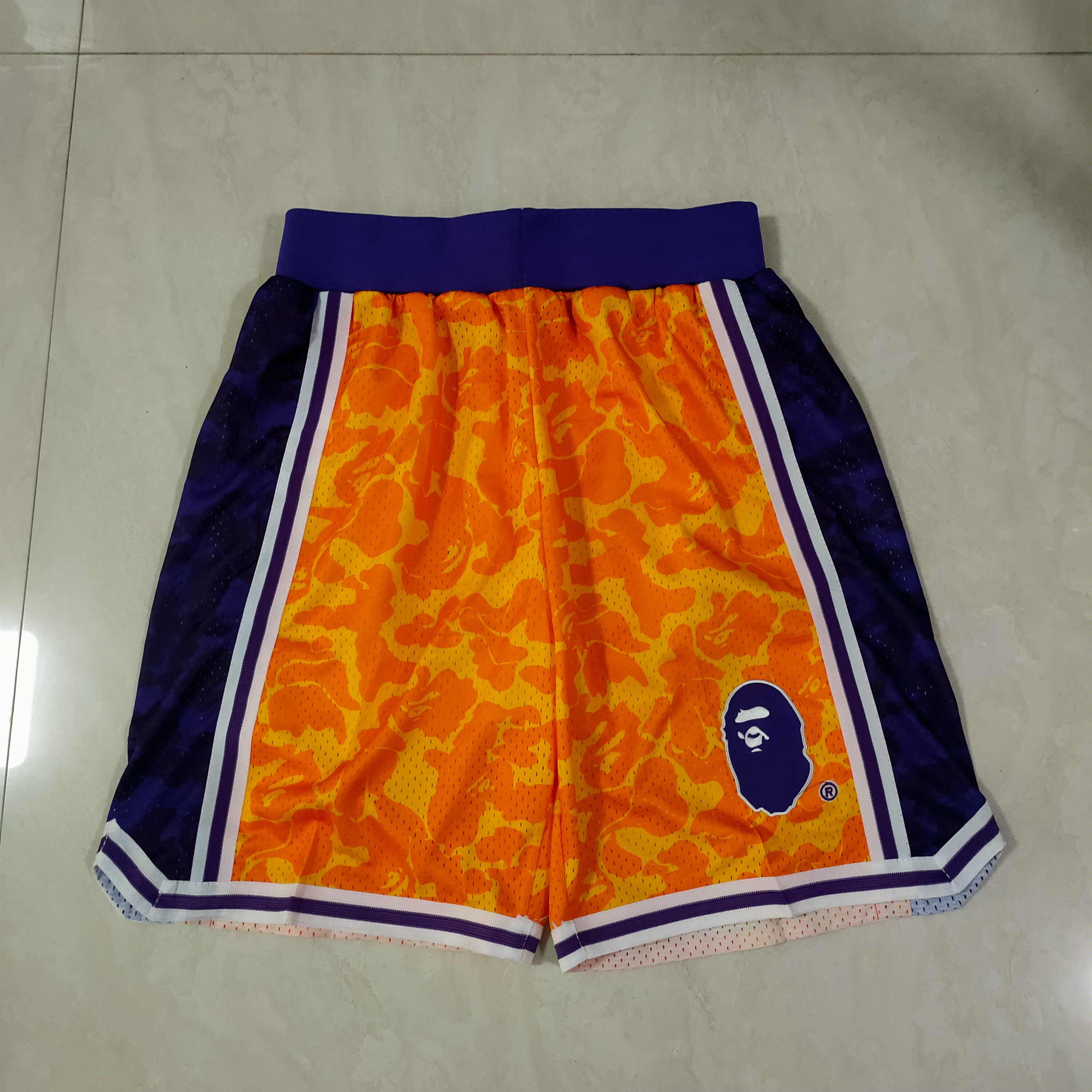 Cheap Men NBA Anyi monkey yellow Shorts 0416