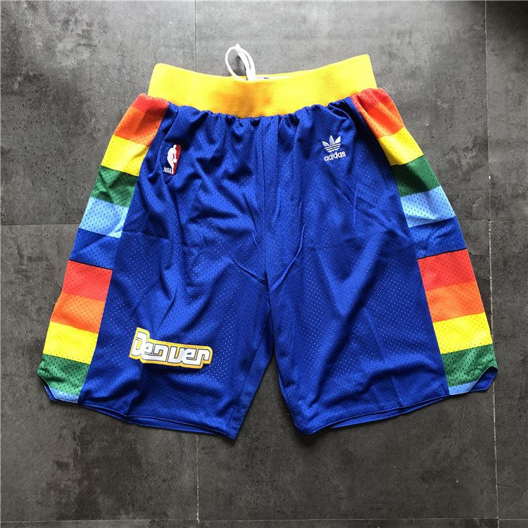 Cheap Men NBA Denver Nuggets Blue Adidas Shorts 0416