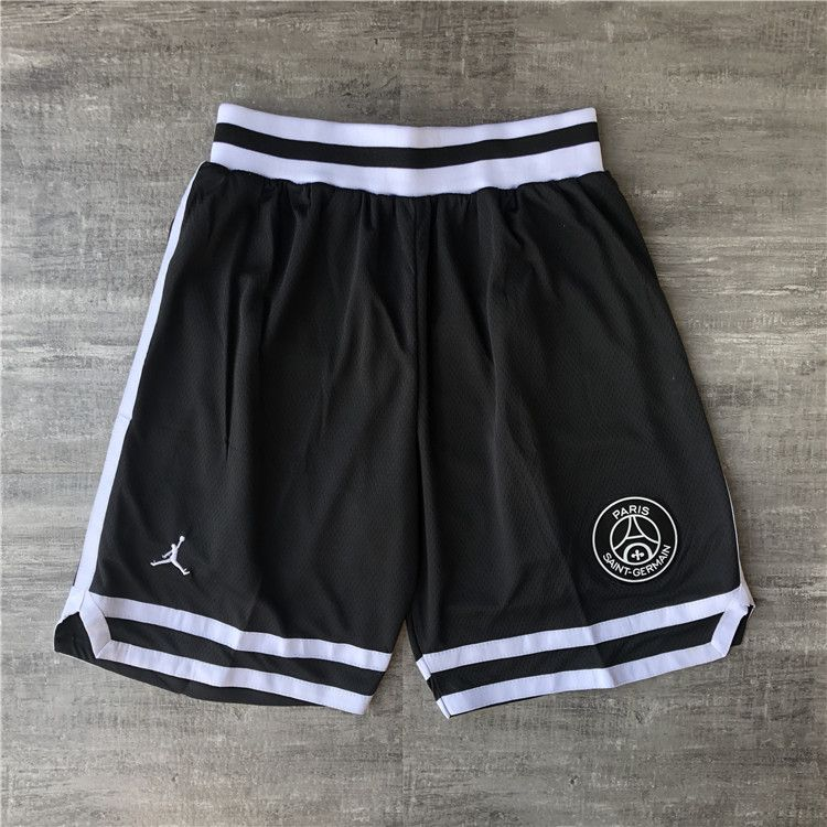 Cheap Men NBA Jordan Paris Saint Germain Black Shorts 0416